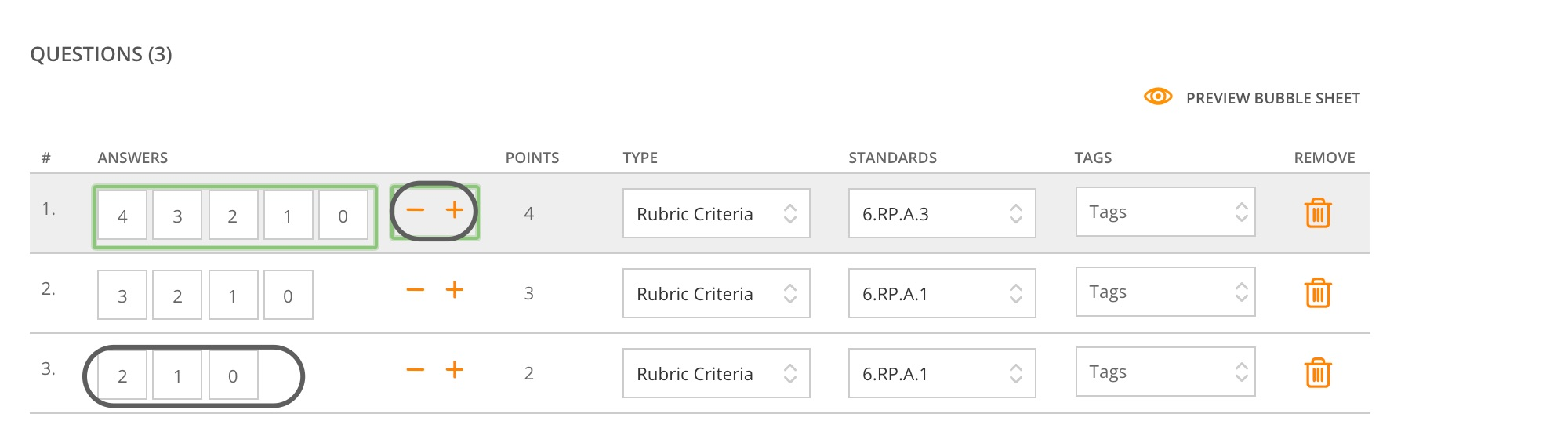 Rubric criteria question creation