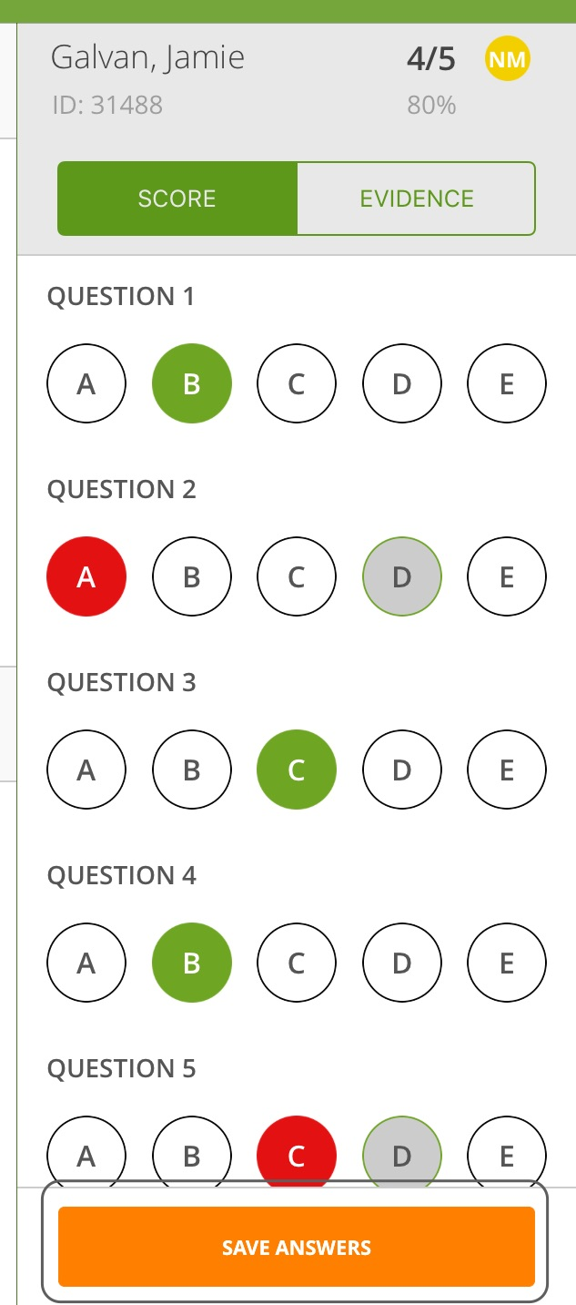 Save Answers Button
