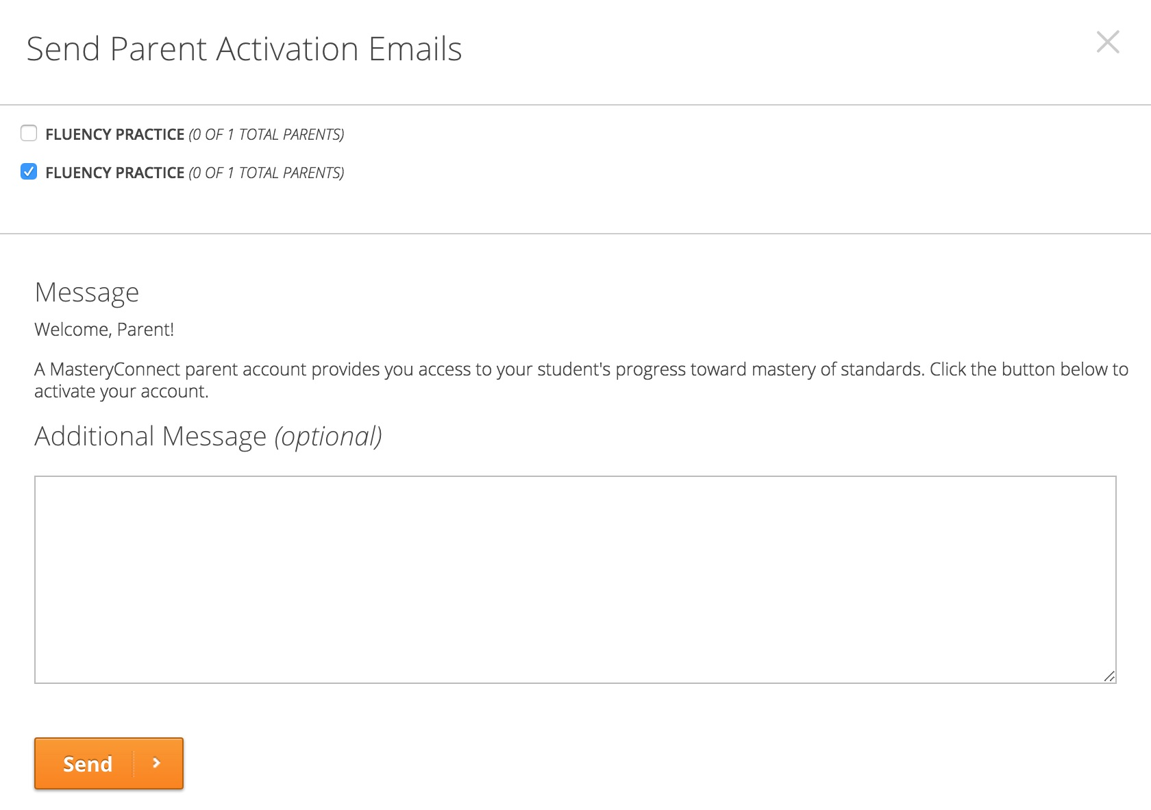 Send Parent Activation Emails Modal