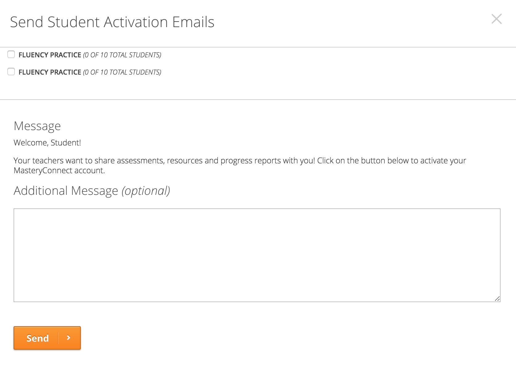 Send Student activation email dialog